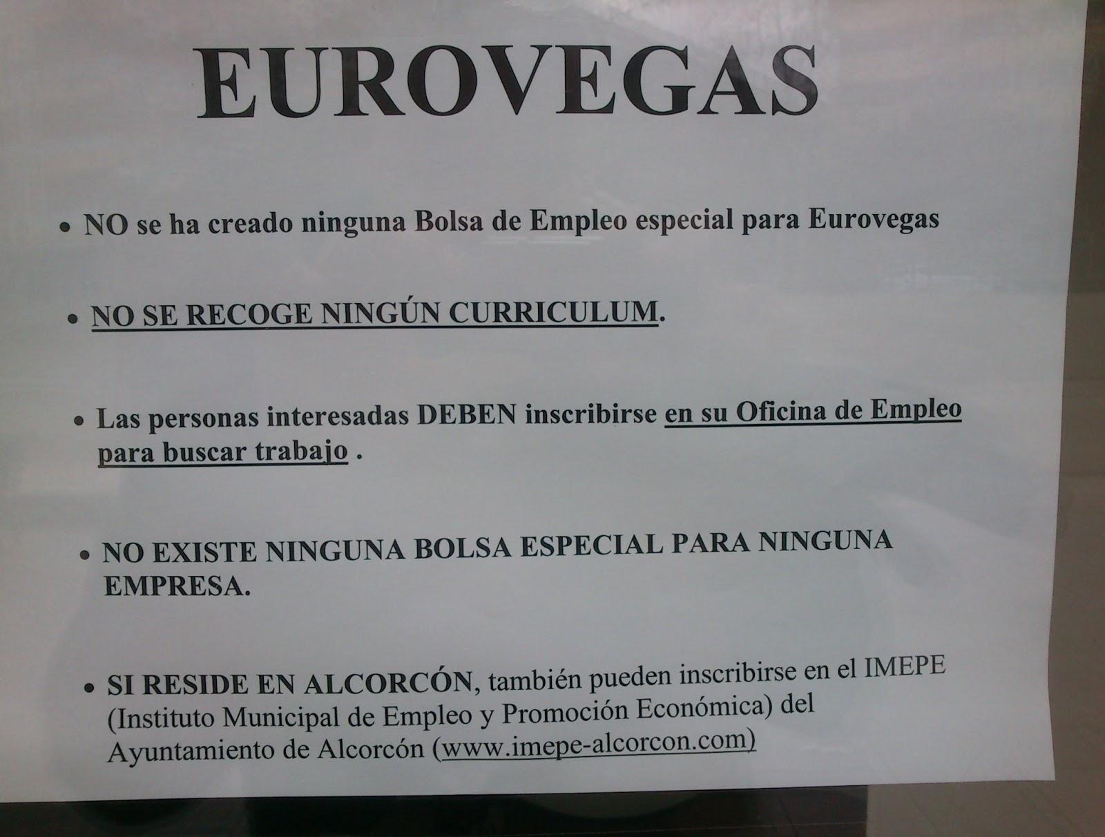 LA BOLSA DE EMPLEO DE EUROVEGAS   Alcorcón Insólito