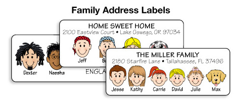 Family of characters 150 multi character address labels for Caricature return address labels