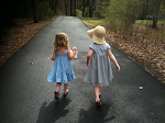 Lucia & Pearl walking the lane