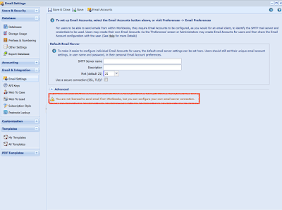 """E-Mail-Setting in Workbooks mit Hinweis """"You are not licensed to send email from Workbooks, but you can configure your own email server connection."""""""