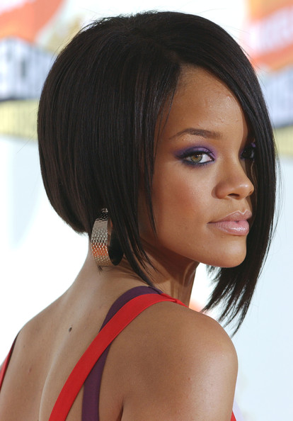 Rihanna Edgy Sleek Concave Bob Haircut