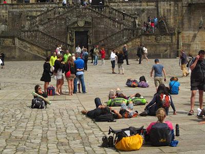 Pilgrims in Obradoiro in Santiago de Compostela