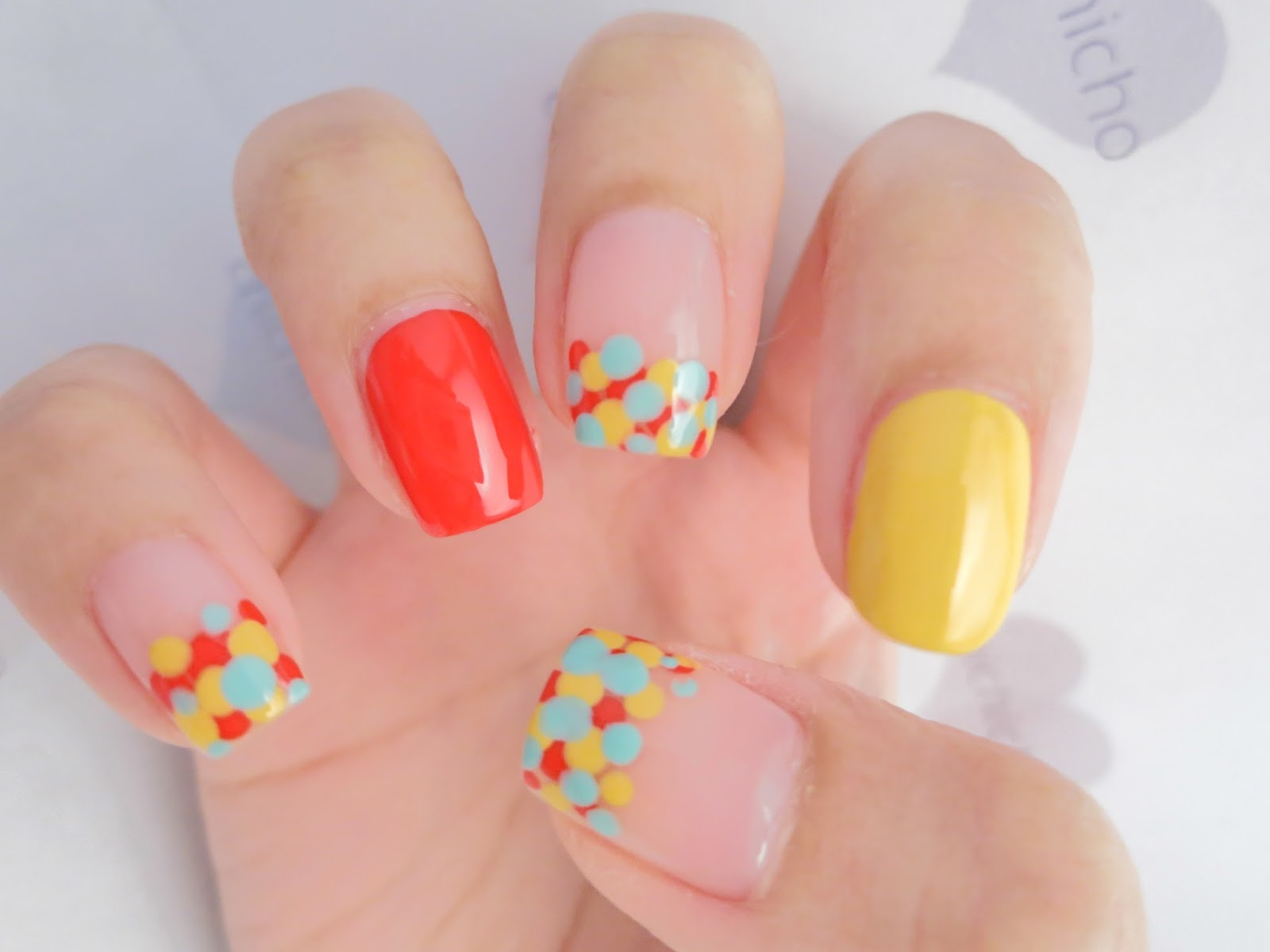 Circus Colors Dotted French Nails Nail Art - chichicho~