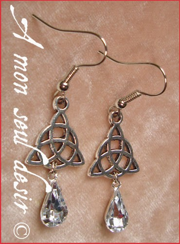 Boucles d'oreilles celtique celte triquetra viking irlande cristal celtic knot irish earrings Rowena Crystal