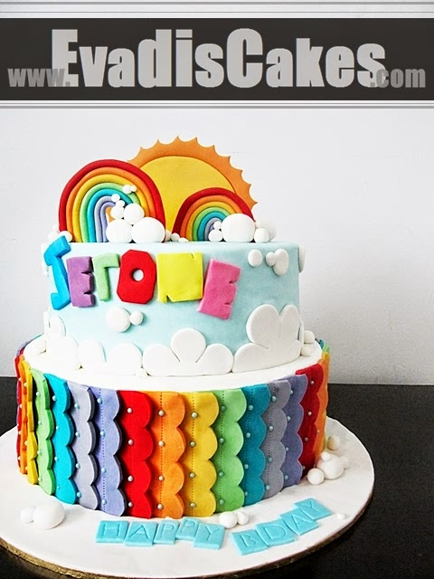 Full view of rainbow cake