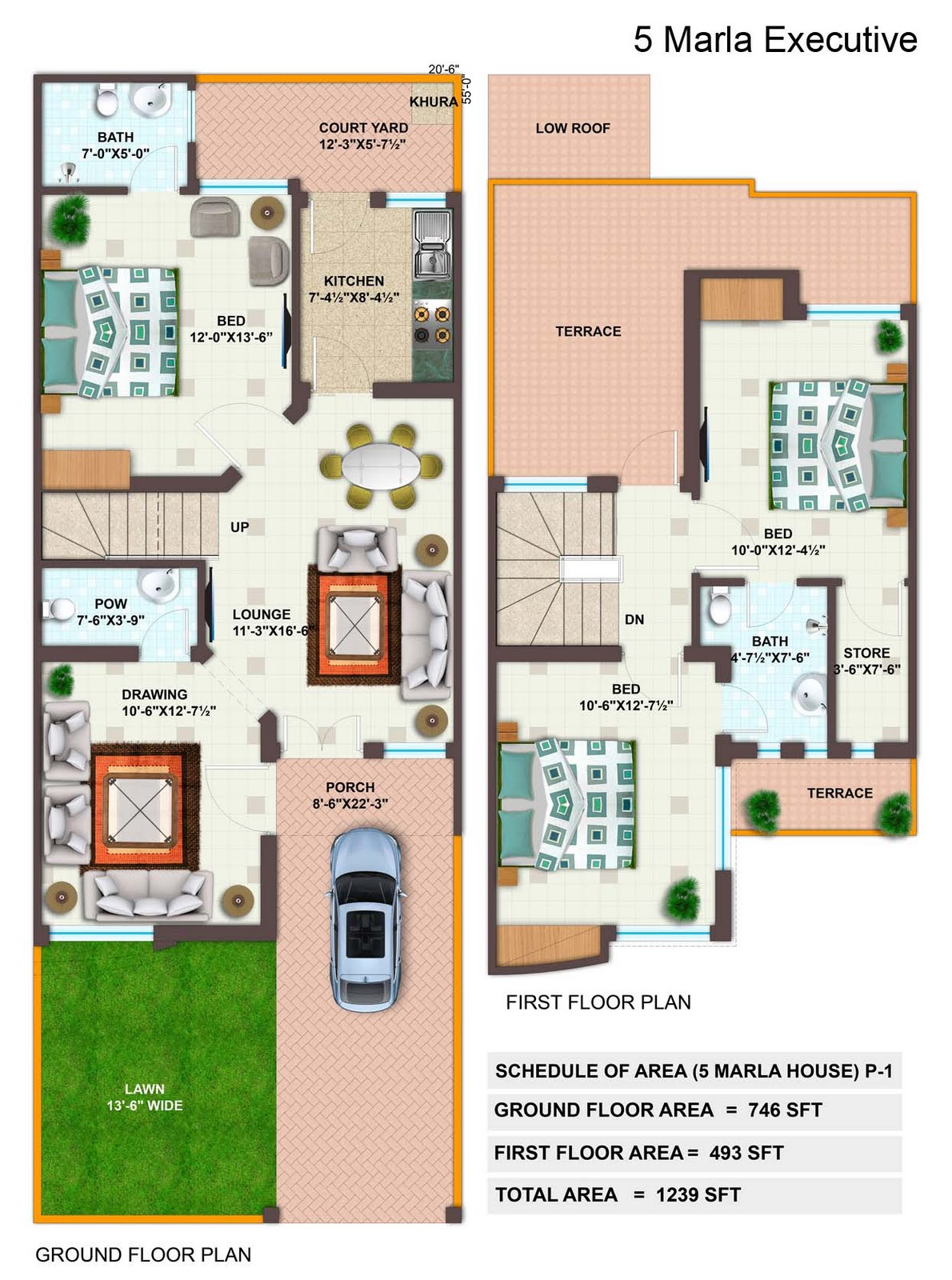 5 Marla House Floor Plan http://propertyrealvalue.blogspot.com/2011/09/imperial-garden-homes-plan.html