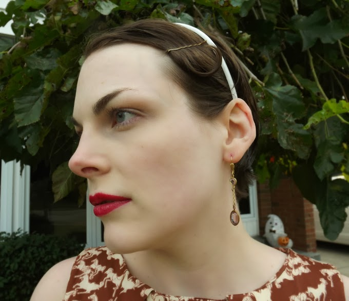 Suzanne Amlin, close up face, Stila lipstick, Titanic jewelry, Titanic jewellery, Titanic jewels, Titanic earrings, Rose deck earrings, Rose strolling earrings, Titanic pink earrings, Titanic purple earrings, A Coin For the Well, Windsor Ontario fashion blog, Windsor Ontario style blogger