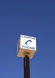 Photo of a police emergency phone on campus.