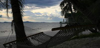Rawa island hammock with sunset