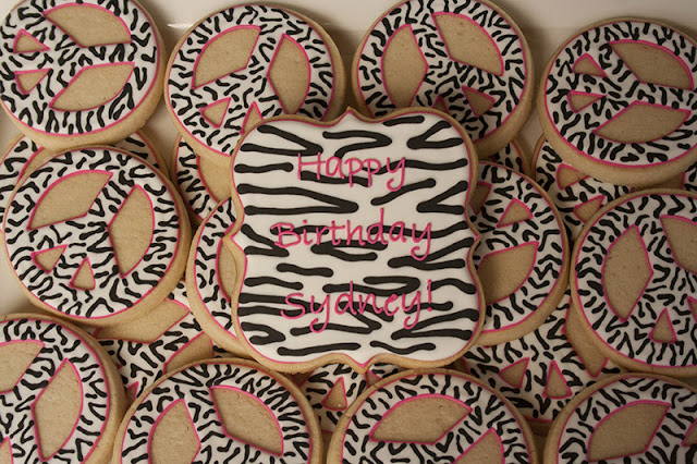 Zebra print peace sign cookies