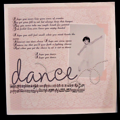 """Dance"" digital scrapbook page"