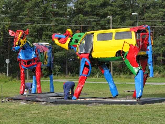 waste Car parts converted to giant animal sculptures