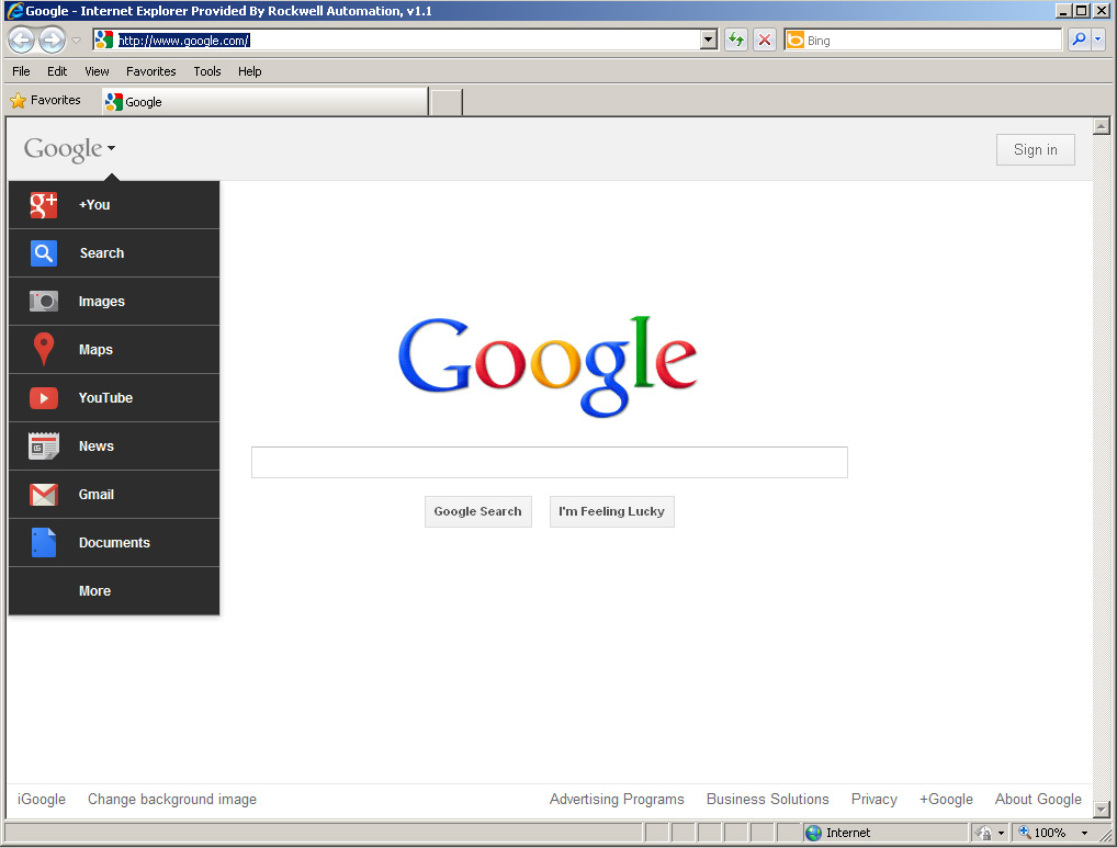 how to set google as homepage on internet explorer