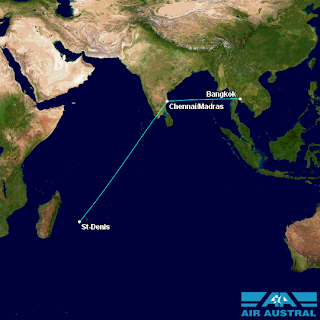 Air Austral's St. Denis de la Réunion – Chennai (Madras) – Bangkok.