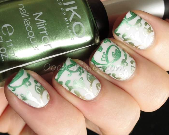 Essence Enter Wonderland with China Glaze Jolly Holly, Kiko Lawn Green and China Glaze 2030 with Bundle Monster plate BM-721 and BornPrettyStore Super Matte