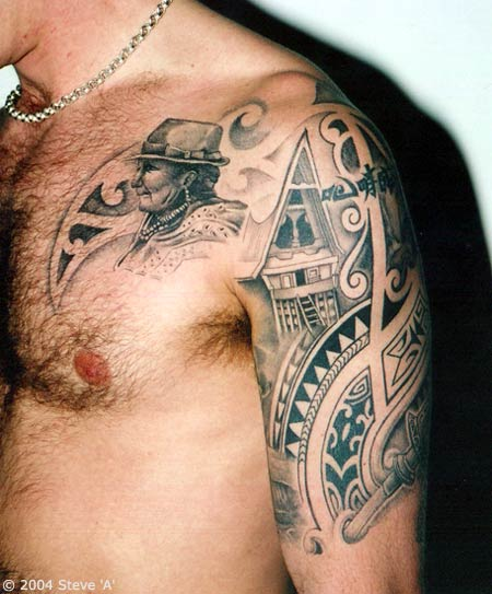 Tattoo in gallery tribal shoulder and chest tattoo for Shoulder and chest tattoos