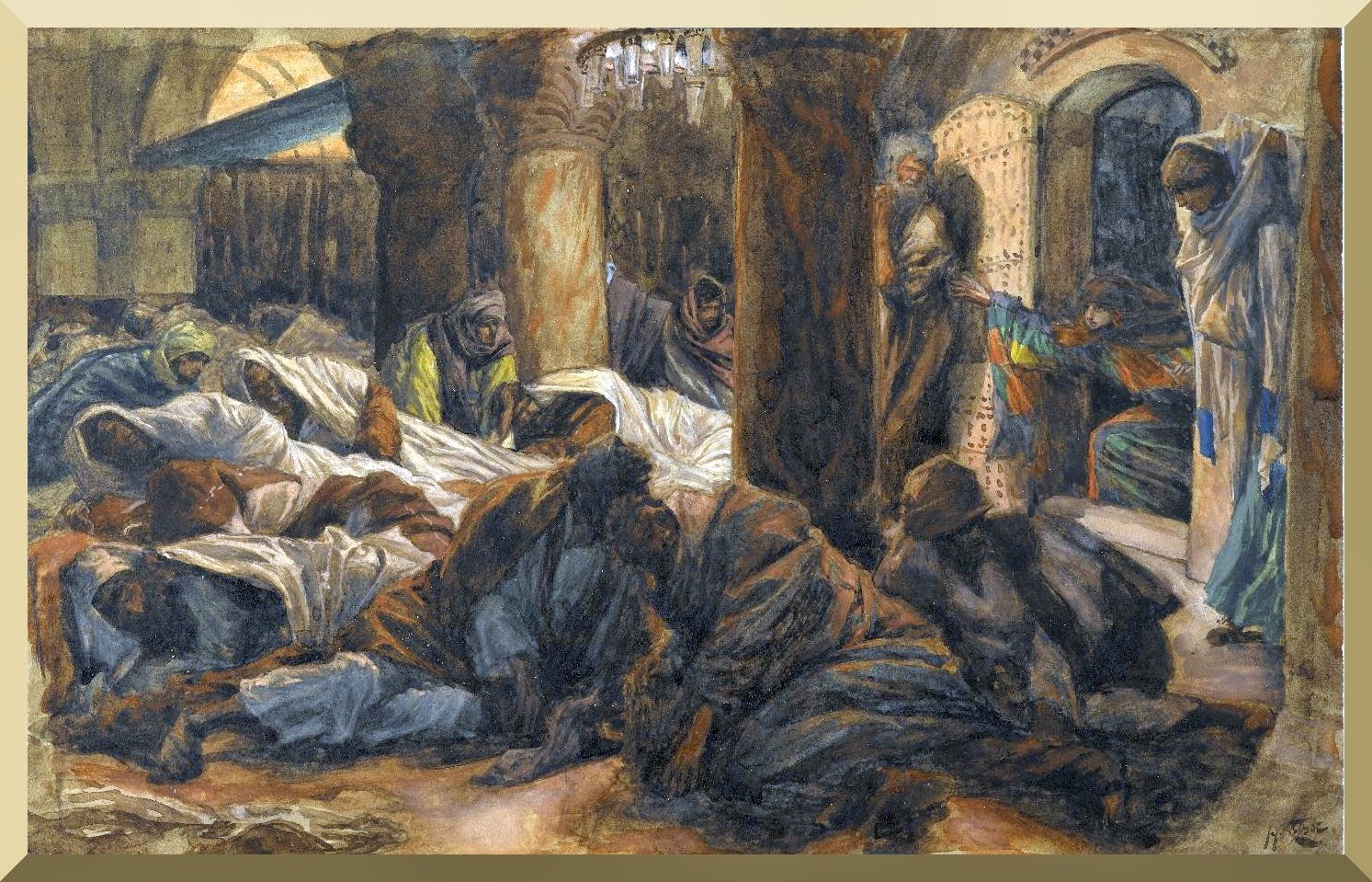 """The Magdalene Runs to the Cenacle to Tell the Apostles that the Body of Jesus is No Longer in the Tomb"" -- by James Tissot"
