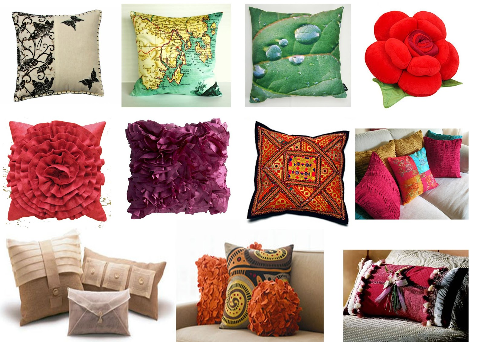 Koleksi pelbagai jenis sarung bantal.