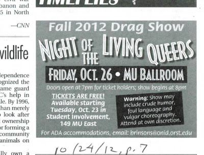 Newspaper ad for 'OSU Night of The Living Queers' drag show in MU Ballroom