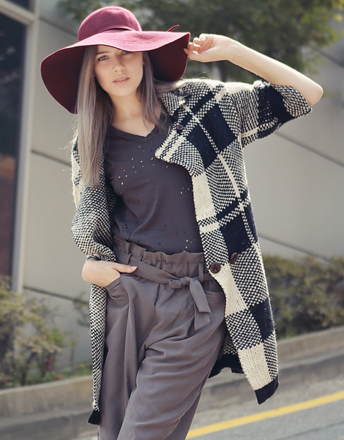Oversized Tartan Double-Breasted Knit Coat