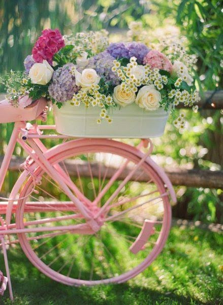 vintage pink bike with flowers