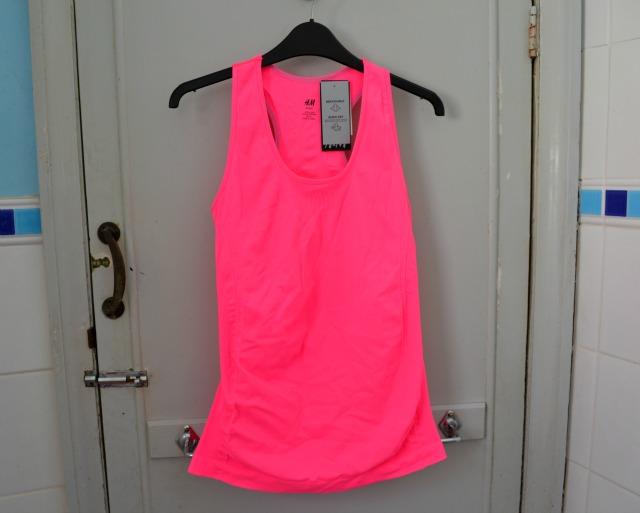 h&m sportwear neon pink top