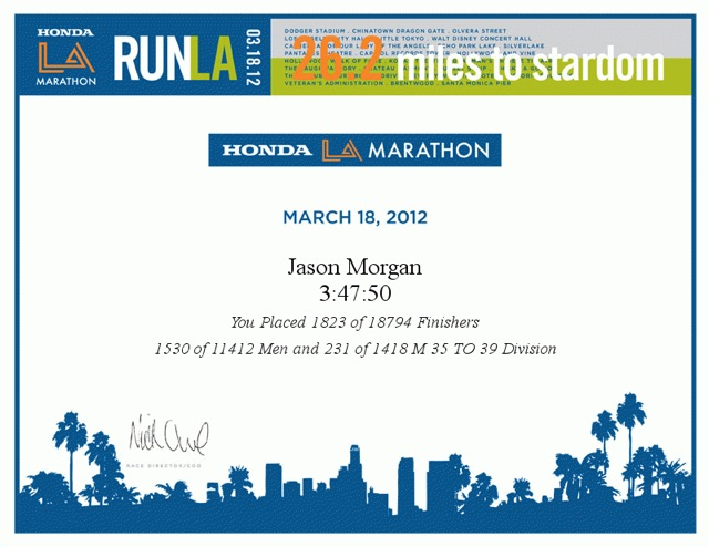 LA Marathon Finisher Certificate 2012