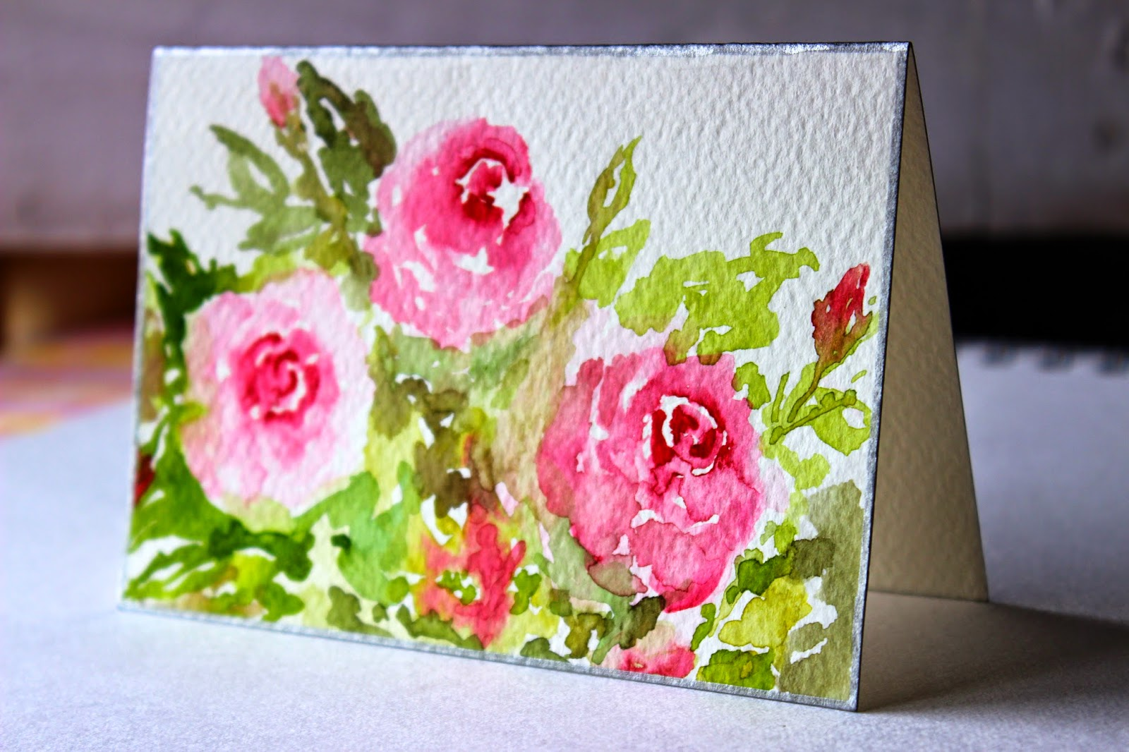 spring, card, pink, roses, flowers, greetingcard, floral, art, handpainted
