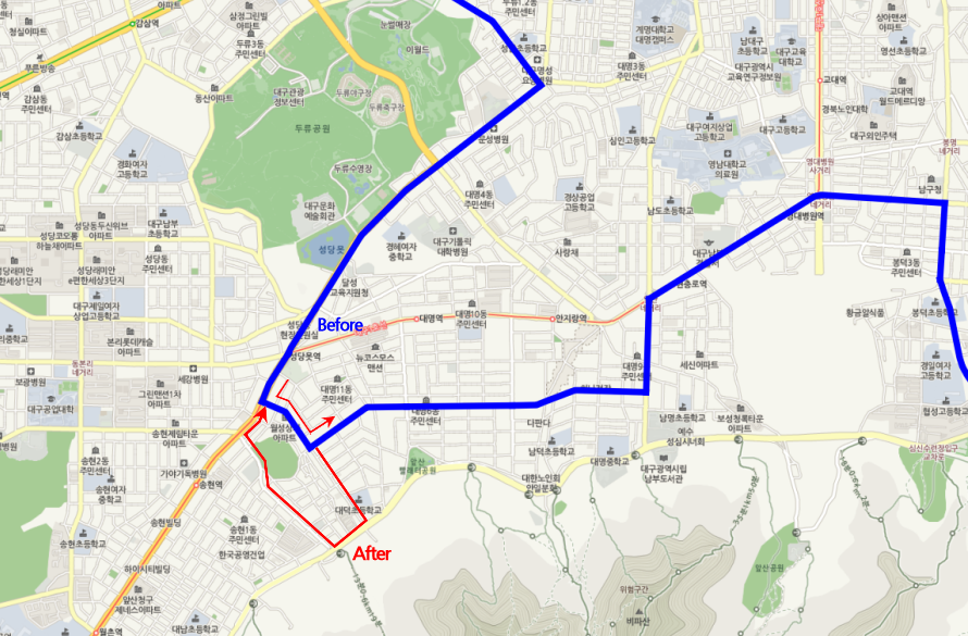 A changed route of 452 bus
