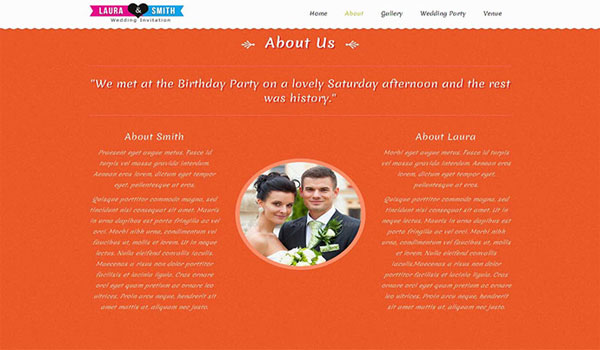 Wedding Single Page Website Template