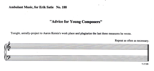 Arthur Jarvinen's piece Advice for Young Composers from Adult Party Games from the Leisure Planet