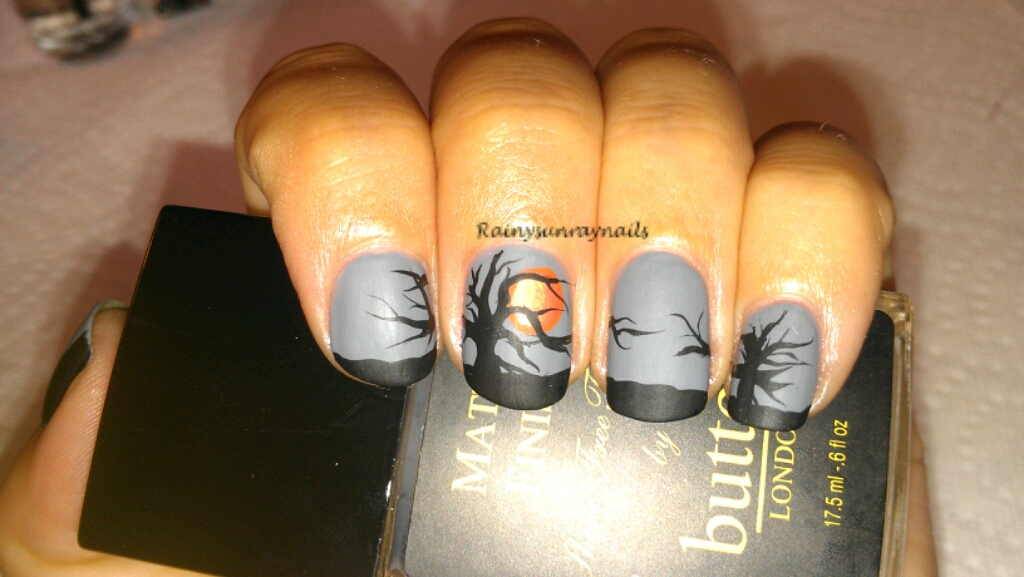 rainysunraynails: Fall Nail Art 2012. Spooky Sunset