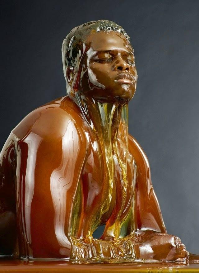 model covered in honey blake littles