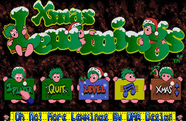 Xmas Lemmings 91 title screen amiga