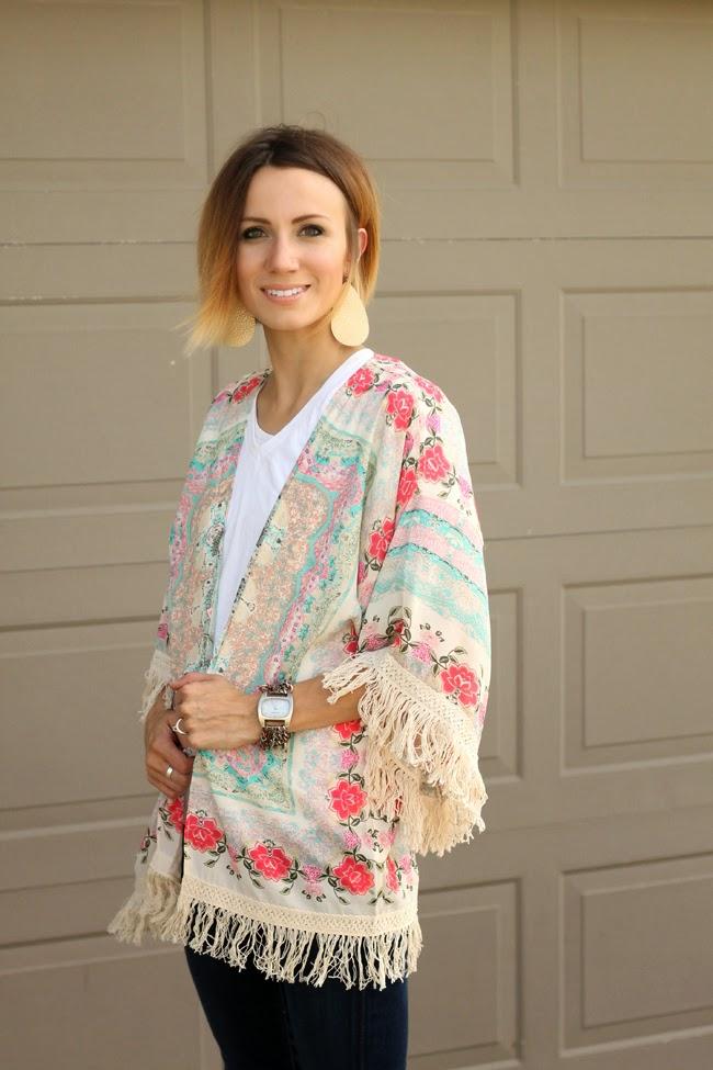 Fringed floral kimono and dark denim