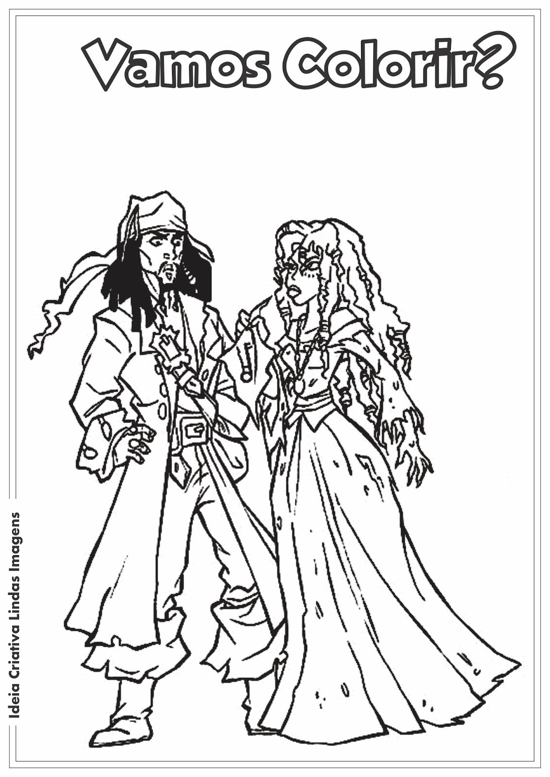 Desenho para colorir - Piratas do Caribe Jack Sparrow e Tia Dalma