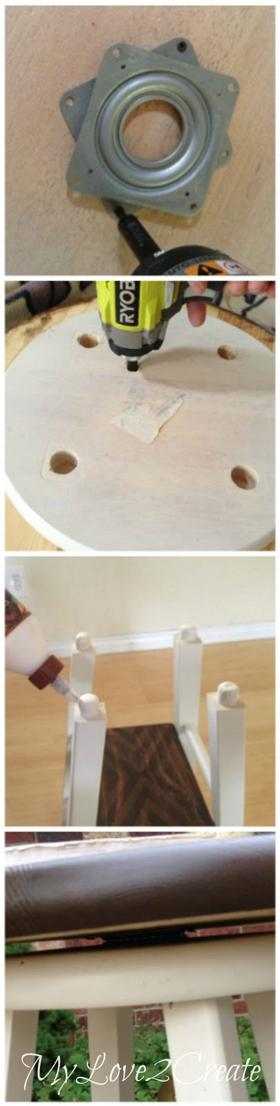 attaching table top with gorilla glue, and attaching lazy susan