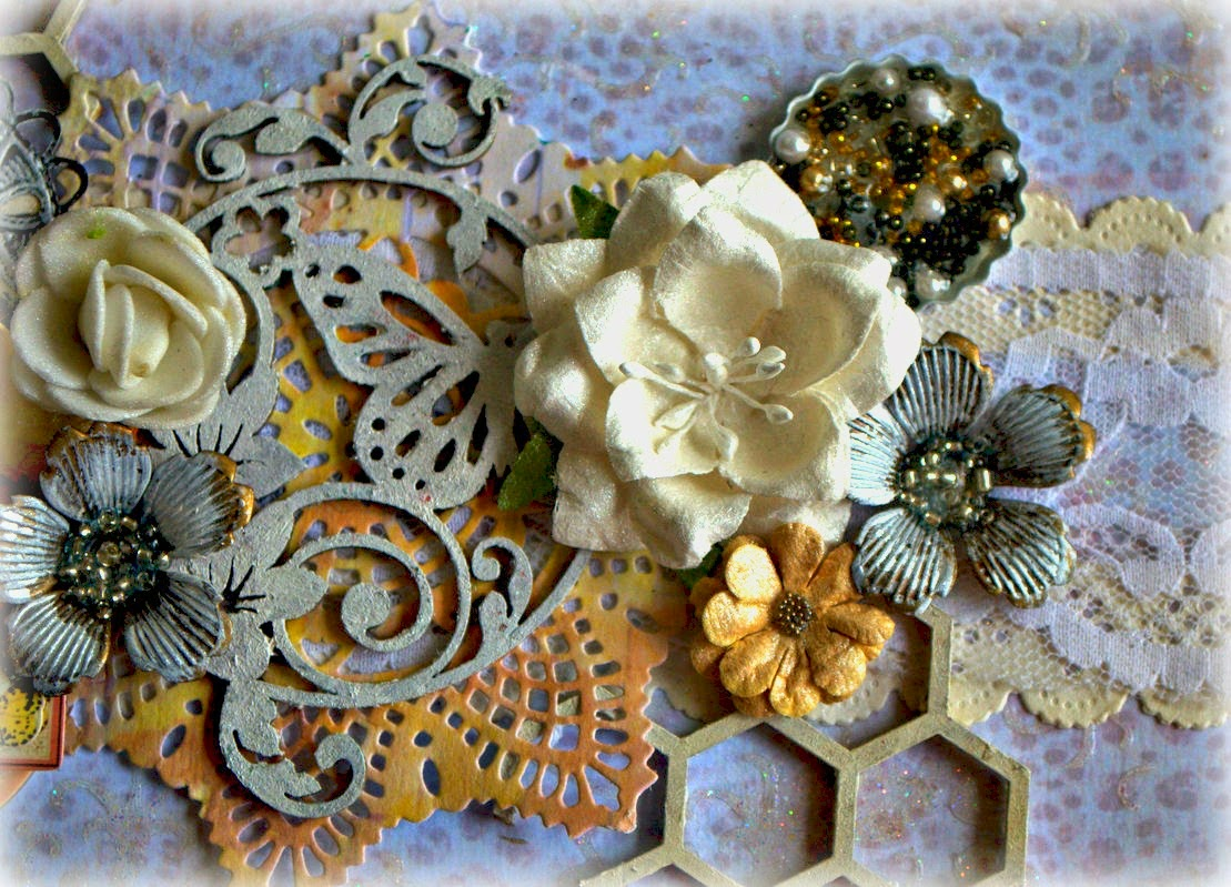 Closeup altered mixed media box