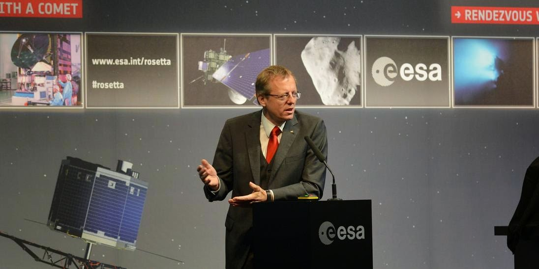 Johann-Dietrich Wörner, Chairman of the DLR German Aerospace Center, during the event to mark the arrival of the Rosetta spacecraft at comet 67P. Held at the European Operations Space Centre in Darmstadt, Germany on 6 August 2014. Credit: ESA/S.Bierwald - CC BY-SA IGO 3.0