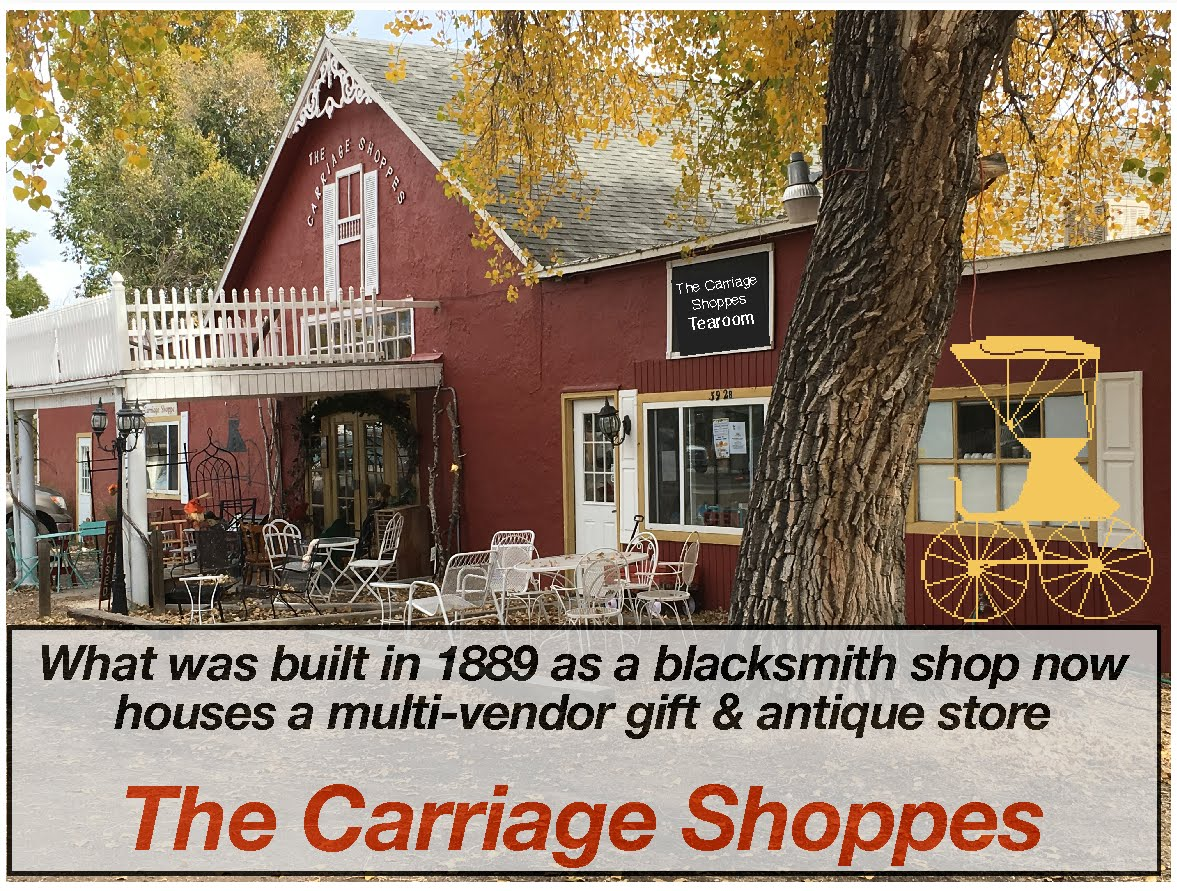 THE CARRIAGE SHOPPES ~ 392 Main Street ELIZABETH CO ~ OPEN MON-SAT  10 TO 5