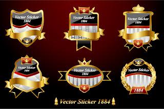 ヨーロッパ調の金ラベル european label vector イラスト素材1
