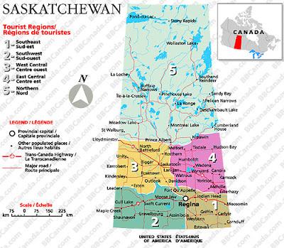 Saskatchewan Map Regional Political Province