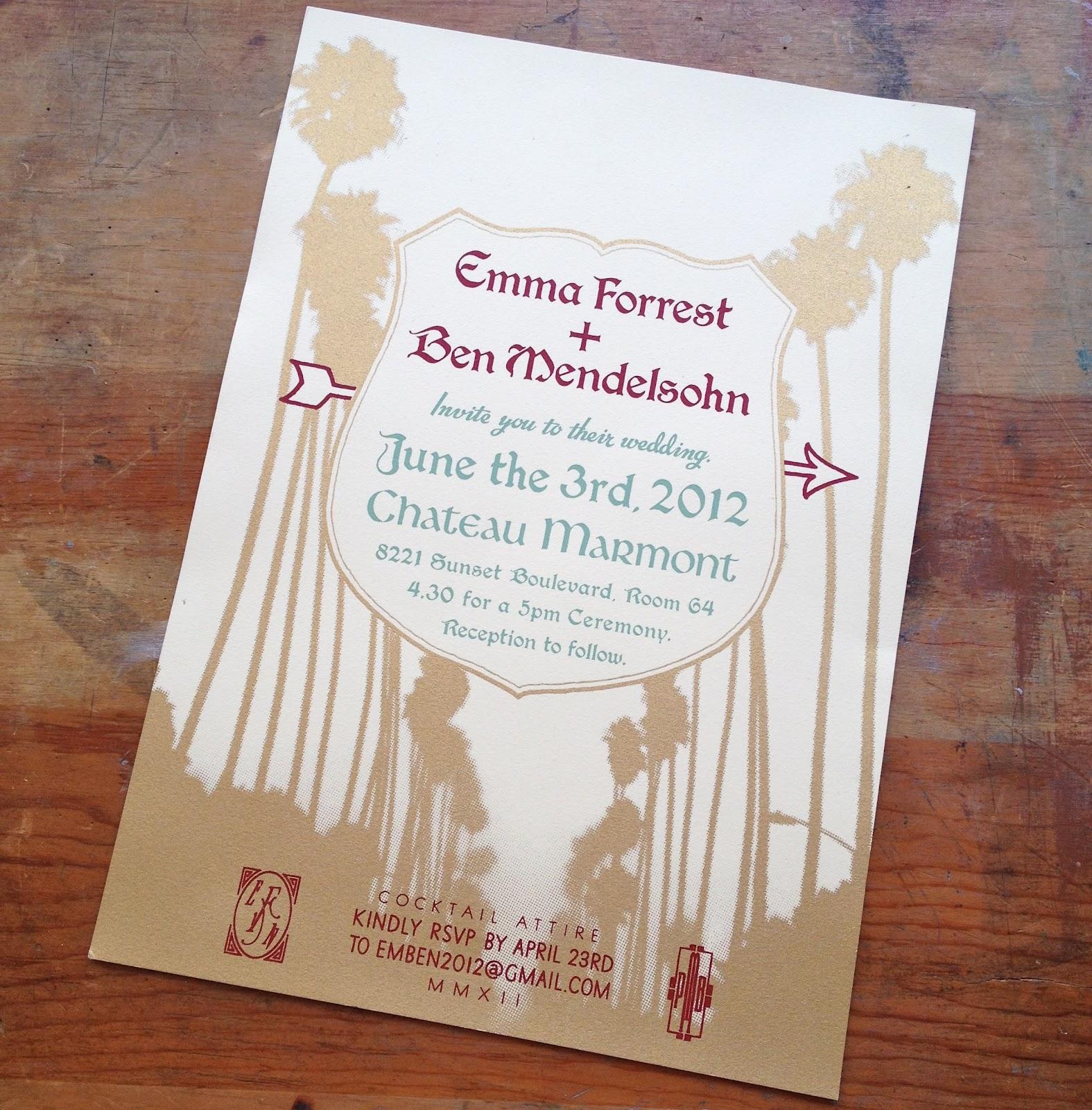 Emma Forrest Wedding