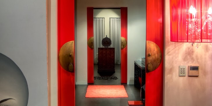 Red doors in an Amazing contemporary Villa Yin in Phuket