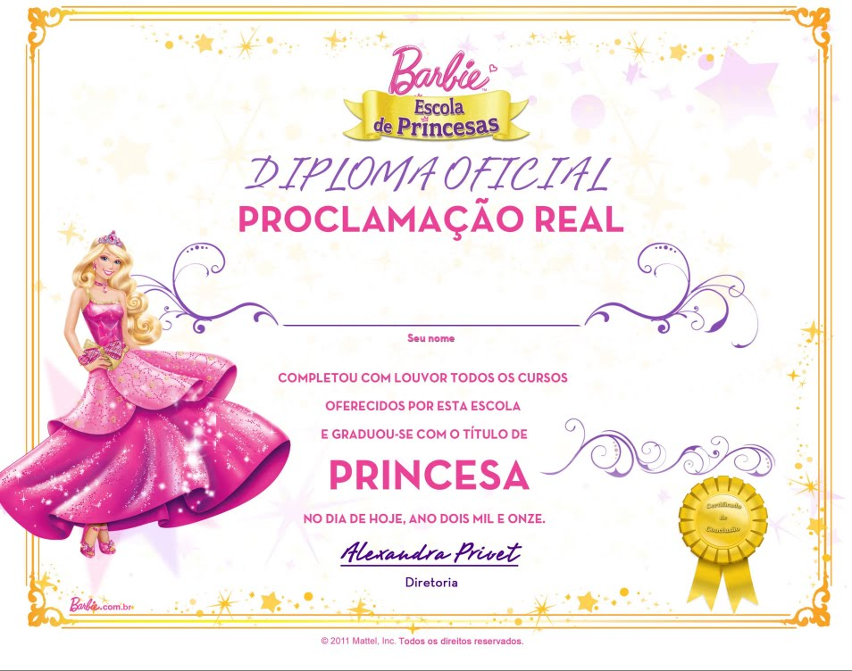 Barbie Princess School Diploma
