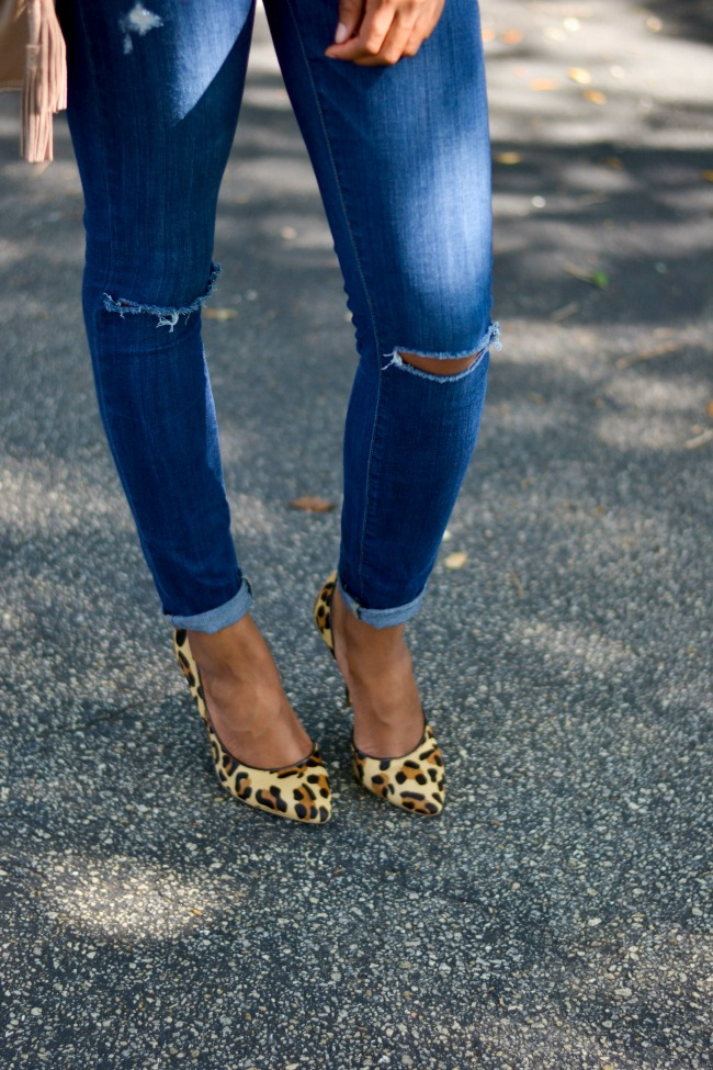 Ripped Paige Denim + Leopard Heels   Spring Outfit Ideas