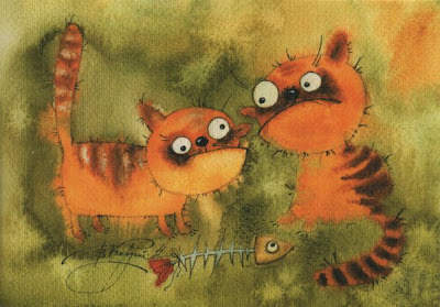Painting of two scruffy cats with fish skeleton.