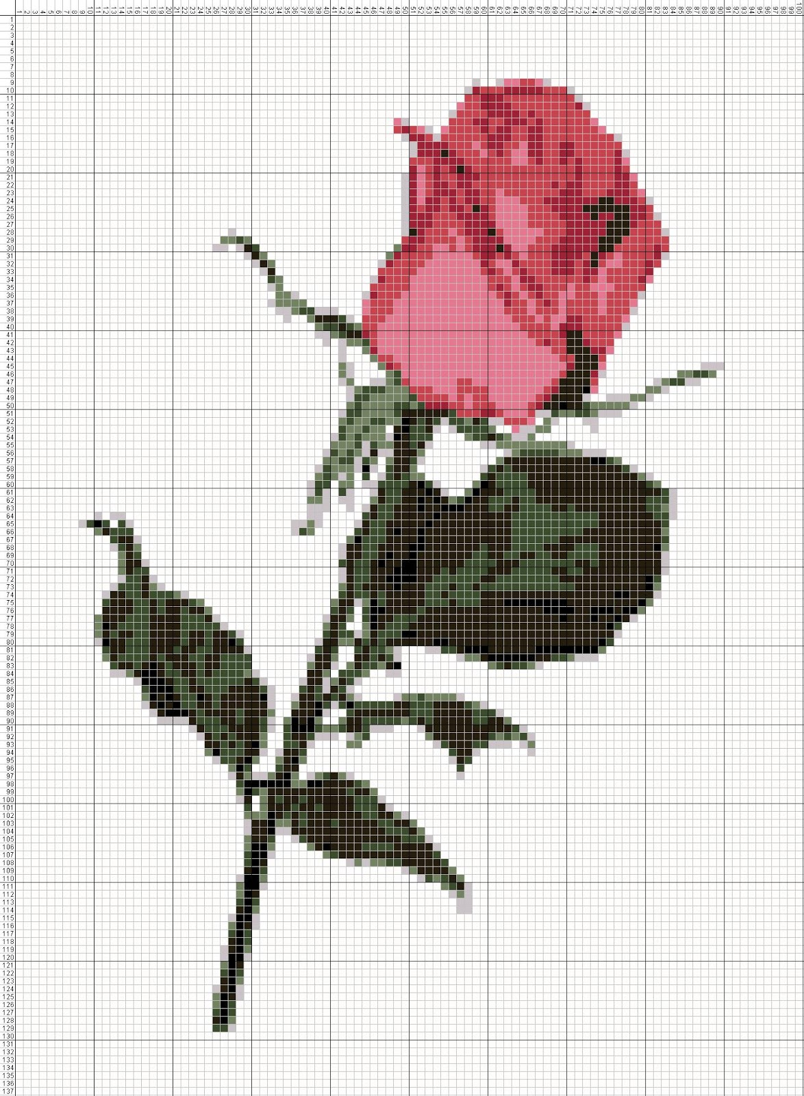 Gambar Pola Kristik Bunga Mawar Merah