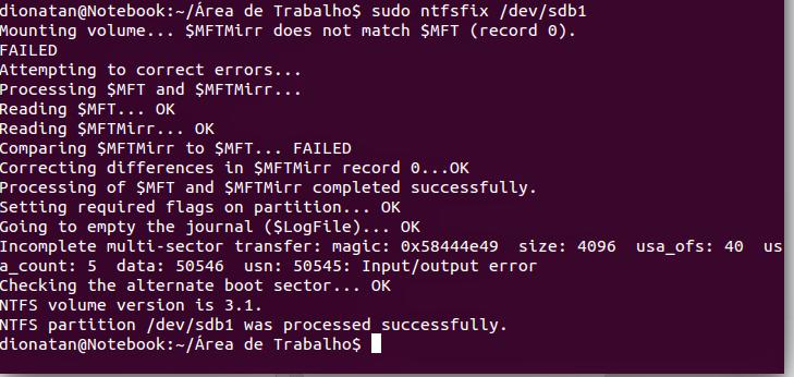 reparando pen drive no ubuntu