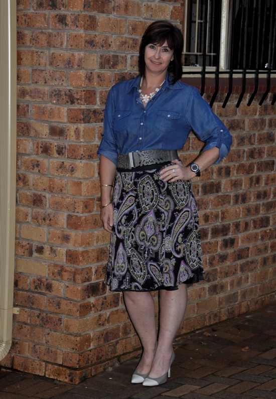 Denim skirt, Paisley Skirt, Two tone shoes, Grey cap toe shoes